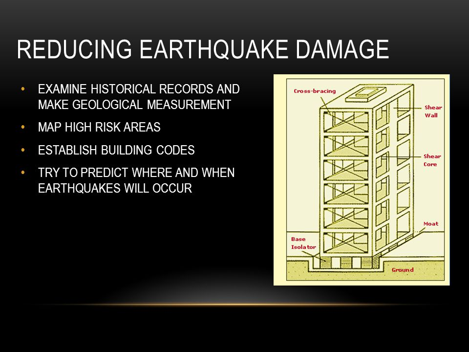 REDUCING EARTHQUAKE DAMAGE EXAMINE HISTORICAL RECORDS AND MAKE GEOLOGICAL MEASUREMENT MAP HIGH RISK AREAS ESTABLISH BUILDING CODES TRY TO PREDICT WHER
