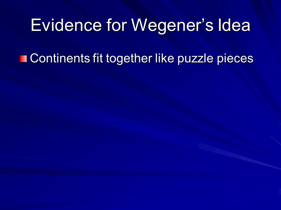 Evidence for Wegener's Idea Continents fit together like puzzle pieces