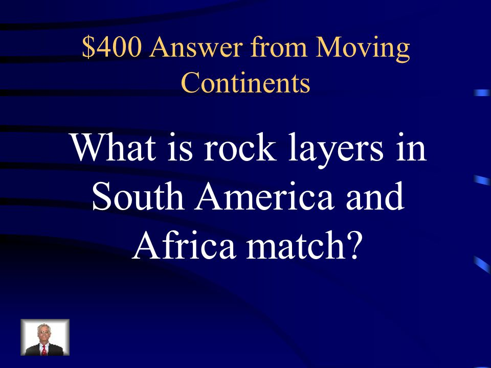 $400 Question from Moving Continents Based on the map, this evidence best supports the idea that the landmasses on Earth were once in these positions.