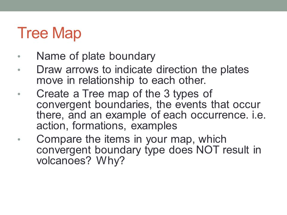 Tree Map Name of plate boundary Draw arrows to indicate direction the plates move in relationship to each other. Create a Tree map of the 3 types of c