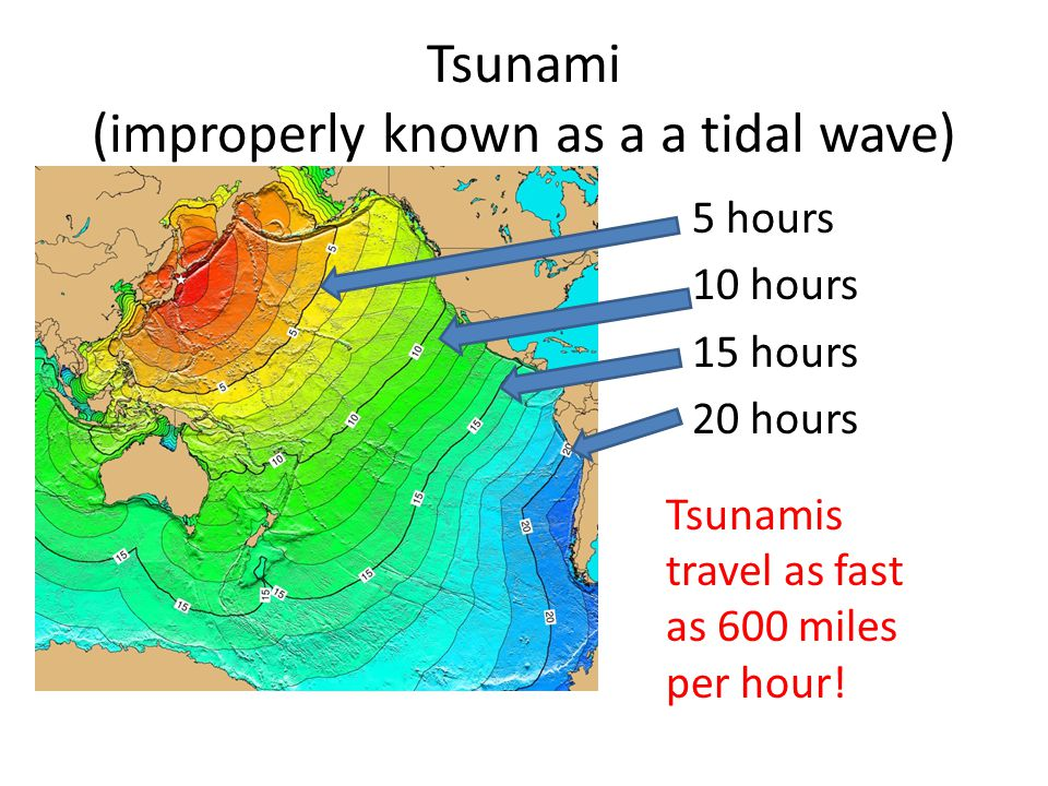 Tsunami (improperly known as a a tidal wave) 5 hours 10 hours 15 hours 20 hours Tsunamis travel as fast as 600 miles per hour!