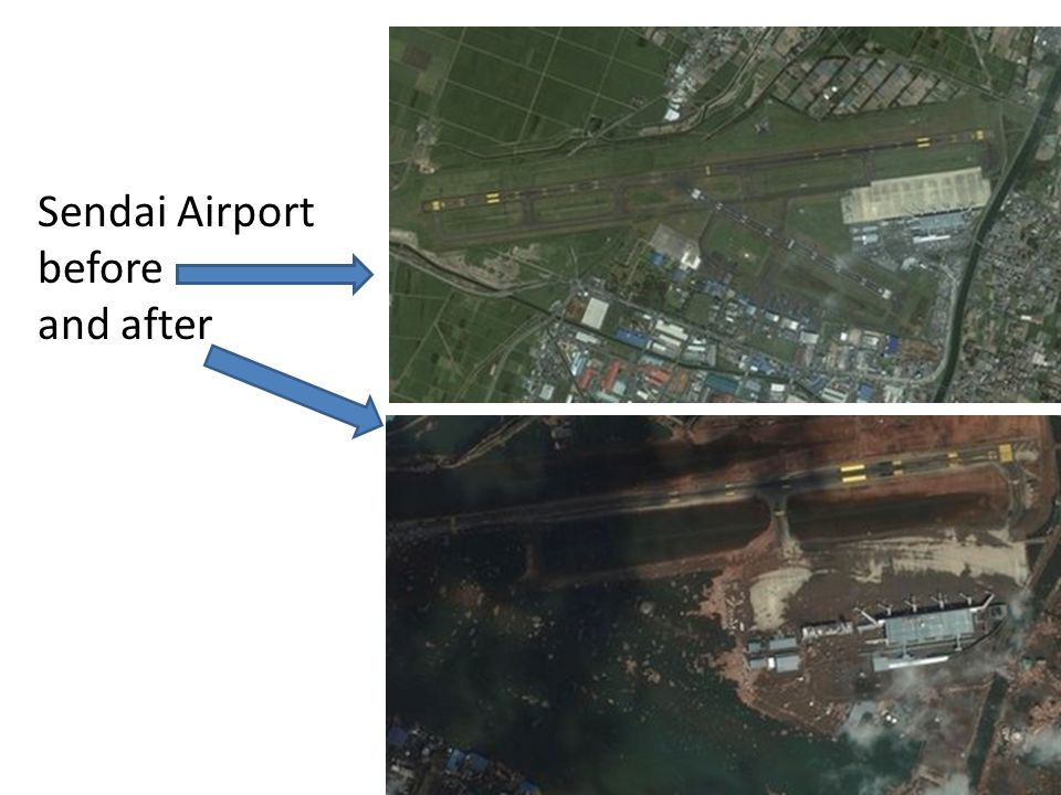 Sendai Airport before and after