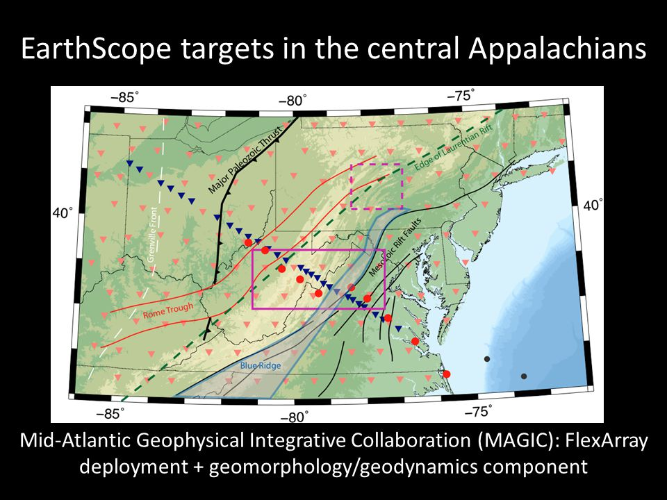 EarthScope targets in the central Appalachians Mid-Atlantic Geophysical Integrative Collaboration (MAGIC): FlexArray deployment + geomorphology/geodynamics component