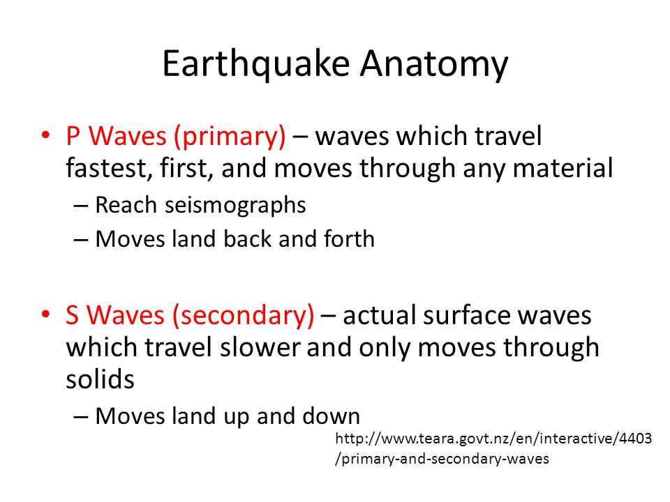 Earthquake Anatomy P Waves (primary) – waves which travel fastest, first, and moves through any material – Reach seismographs – Moves land back and forth S Waves (secondary) – actual surface waves which travel slower and only moves through solids – Moves land up and down   /primary-and-secondary-waves