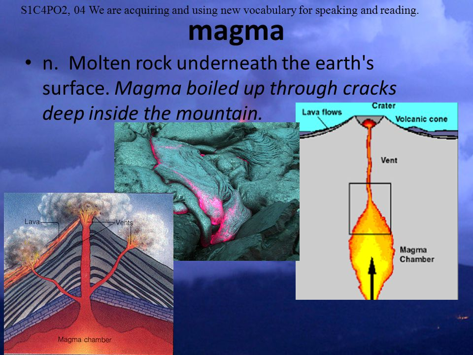 n. Molten rock underneath the earth s surface.