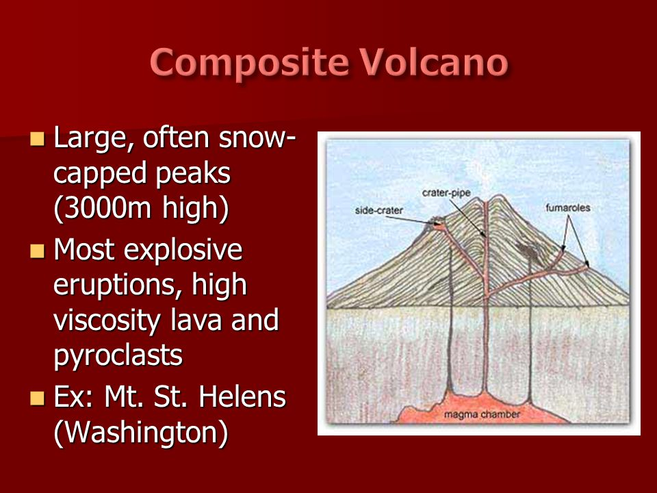 Large, often snow- capped peaks (3000m high) Large, often snow- capped peaks (3000m high) Most explosive eruptions, high viscosity lava and pyroclasts
