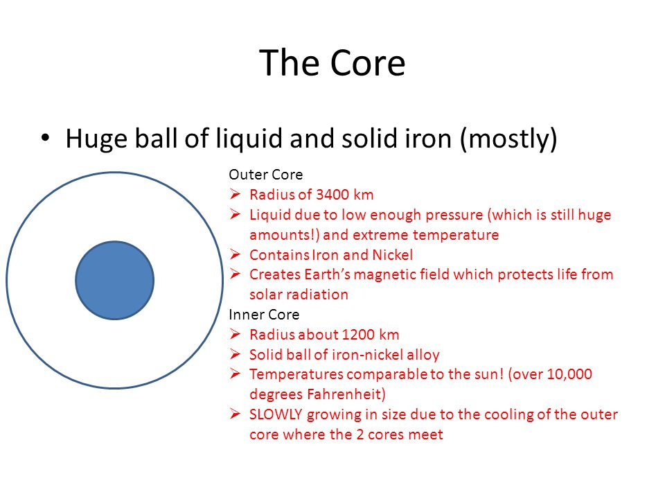 The Core Huge ball of liquid and solid iron (mostly) Outer Core  Radius of 3400 km  Liquid due to low enough pressure (which is still huge amounts!) and extreme temperature  Contains Iron and Nickel  Creates Earth's magnetic field which protects life from solar radiation Inner Core  Radius about 1200 km  Solid ball of iron-nickel alloy  Temperatures comparable to the sun.