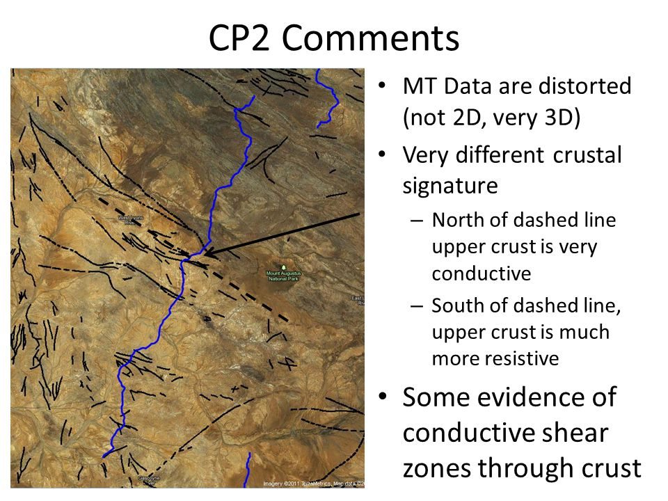 CP2 Comments MT Data are distorted (not 2D, very 3D) Very different crustal signature – North of dashed line upper crust is very conductive – South of dashed line, upper crust is much more resistive Some evidence of conductive shear zones through crust