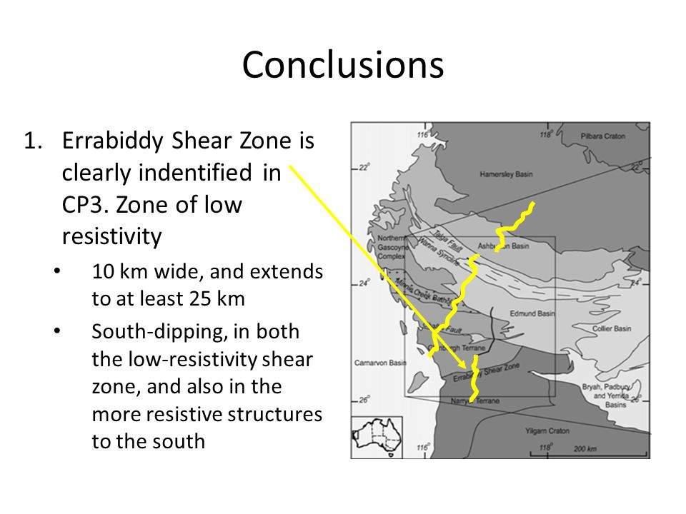 Conclusions 1.Errabiddy Shear Zone is clearly indentified in CP3.