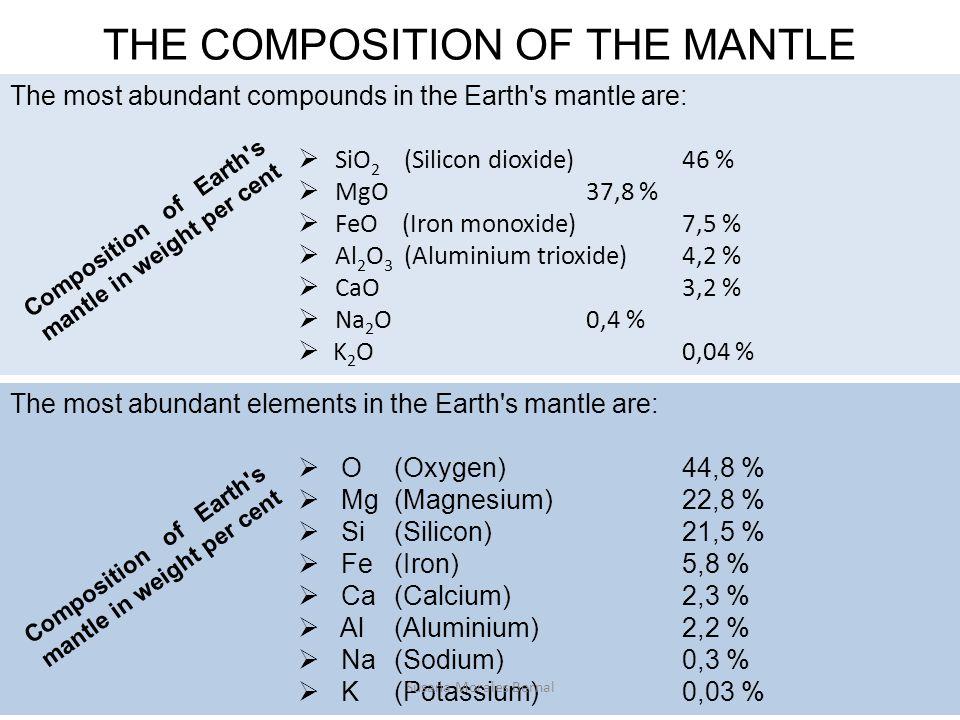 The most abundant elements in the Earth s mantle are:  O(Oxygen)44,8 %  Mg(Magnesium) 22,8 %  Si(Silicon)21,5 %  Fe(Iron) 5,8 %  Ca(Calcium) 2,3 %  Al(Aluminium) 2,2 %  Na(Sodium) 0,3 %  K(Potassium) 0,03 % The most abundant compounds in the Earth s mantle are:  SiO 2 (Silicon dioxide)46 %  MgO37,8 %  FeO (Iron monoxide)7,5 %  Al 2 O 3 (Aluminium trioxide)4,2 %  CaO3,2 %  Na 2 O0,4 %  K 2 O0,04 % THE COMPOSITION OF THE MANTLE Composition of Earth s mantle in weight per cent Susana Morales Bernal