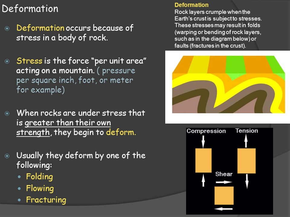 Deformation  The change in shape or volume of a body of rock is called strain.