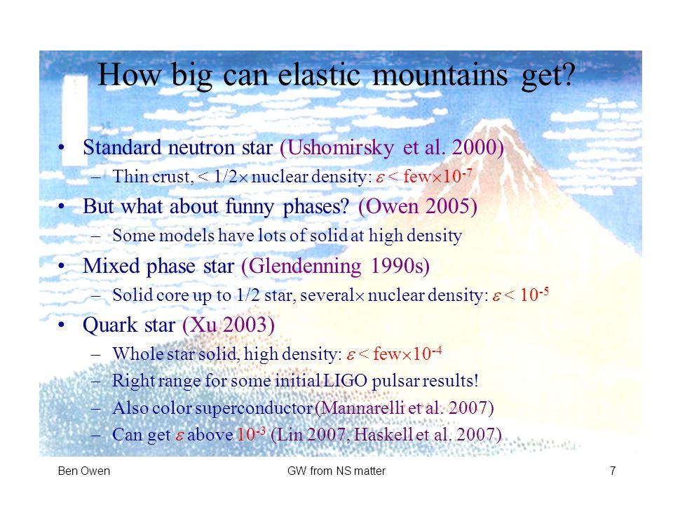 How big can elastic mountains get.Standard neutron star (Ushomirsky et al.