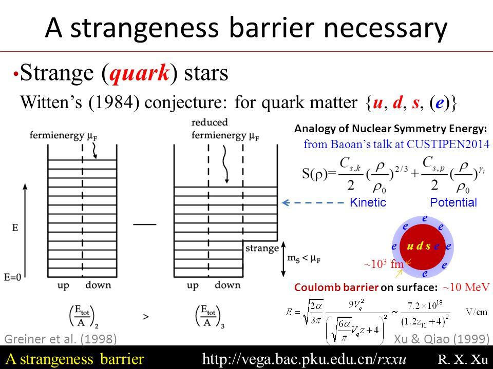 Strange (quark) stars A strangeness barrierhttp://vega.bac.pku.edu.cn/rxxu R. X. Xu Witten's (1984) conjecture: for quark matter {u, d, s, (e)} Greine