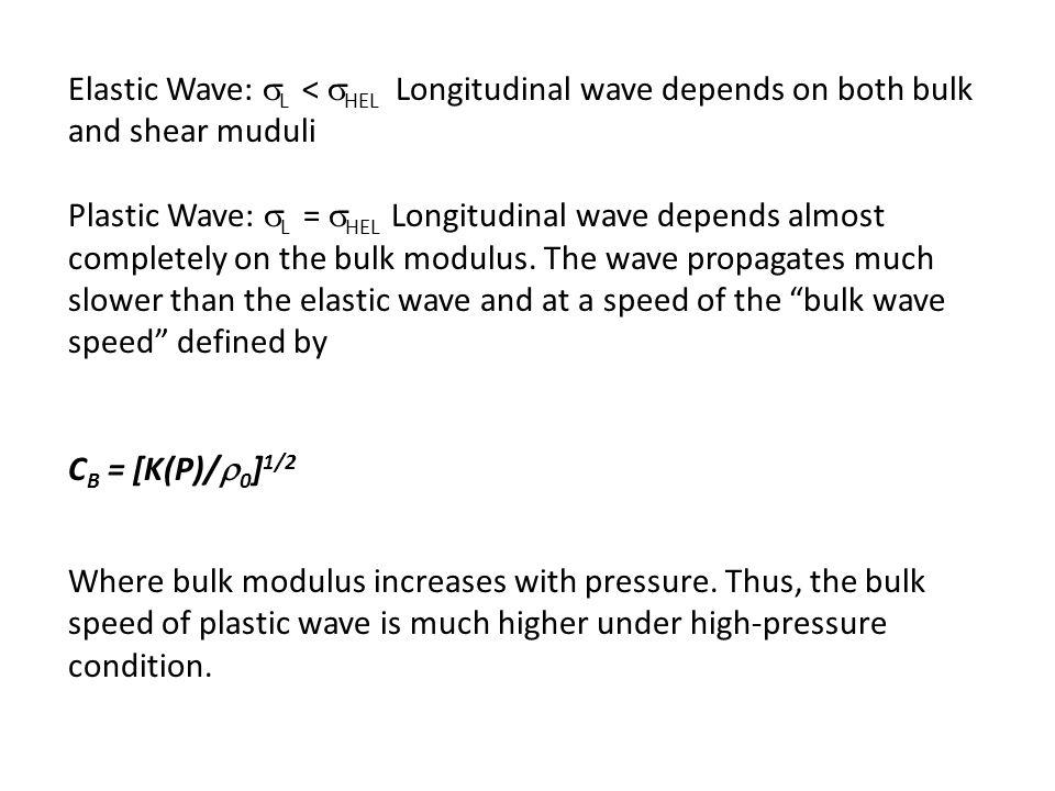 Elastic Wave:  L <  HEL Longitudinal wave depends on both bulk and shear muduli Plastic Wave:  L =  HEL Longitudinal wave depends almost completely on the bulk modulus.