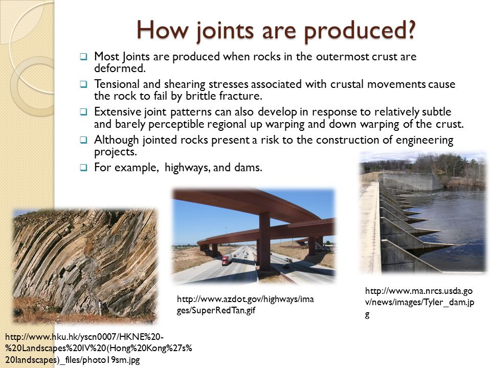 Chemical Weathering Many rocks are broken by two or even three sets of intersecting joints that slice the rock into numerous regularly shaped blocks.