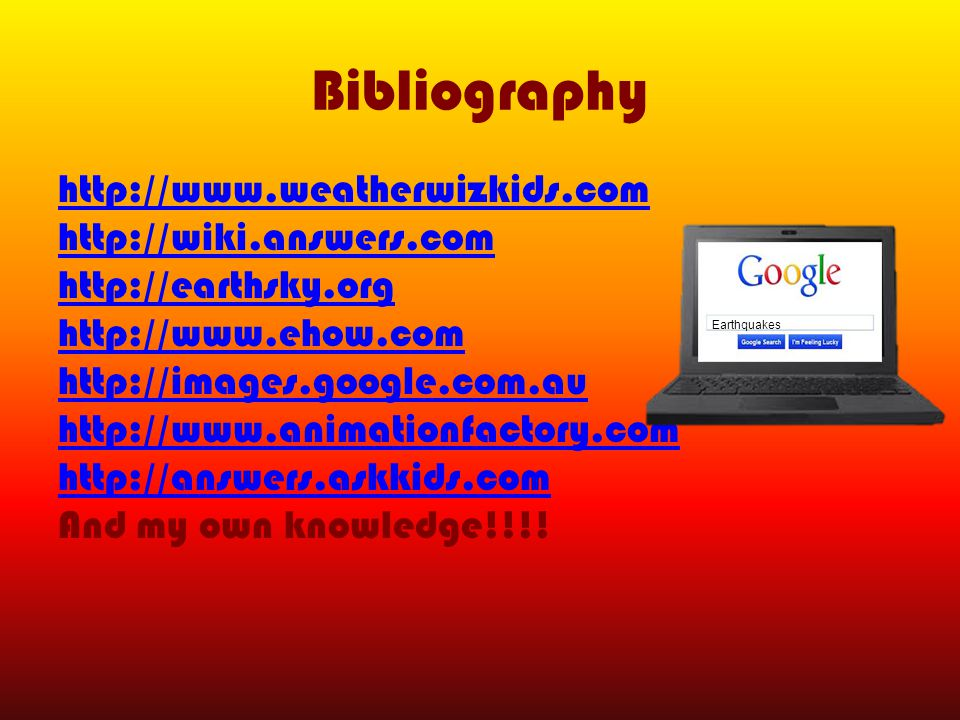 Bibliography http://www.weatherwizkids.com http://wiki.answers.com http://earthsky.org http://www.ehow.com http://images.google.com.au http://www.animationfactory.com http://answers.askkids.com And my own knowledge!!!.