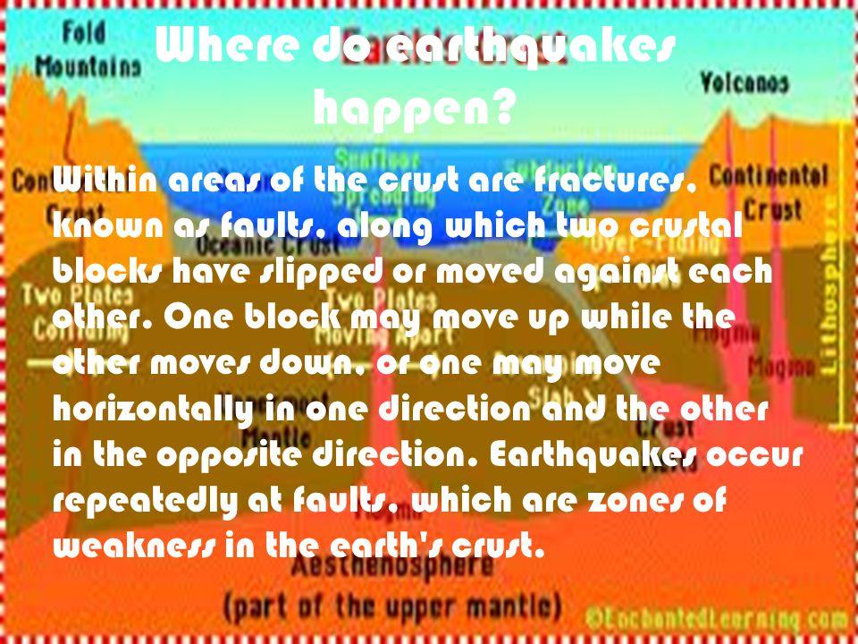 Where do earthquakes happen.