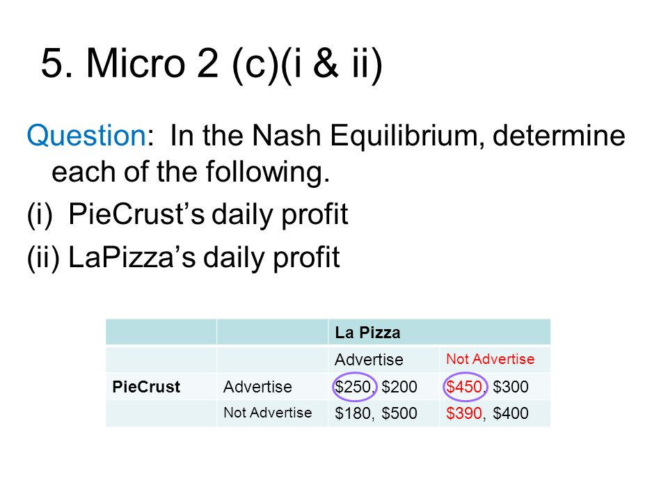 5.Micro 2 (c)(i & ii) Question: In the Nash Equilibrium, determine each of the following.