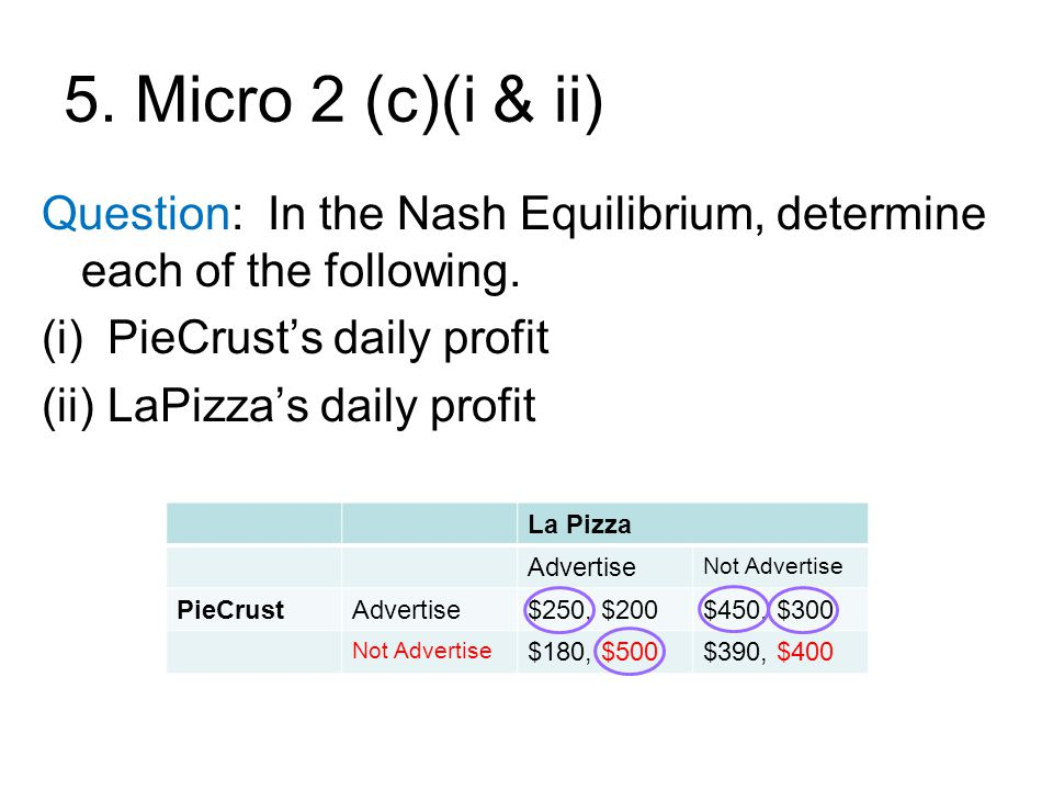5. Micro 2 (c)(i & ii) Question: In the Nash Equilibrium, determine each of the following.
