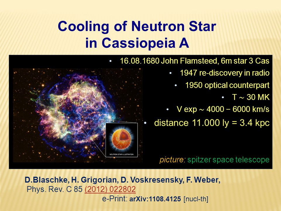 Cooling of Neutron Star in Cassiopeia A 16.08.1680 John Flamsteed, 6m star 3 Cas 1947 re-discovery in radio 1950 optical counterpart T ∼ 30 MK V exp ∼ 4000 − 6000 km/s distance 11.000 ly = 3.4 kpc picture: spitzer space telescope D.Blaschke, H.