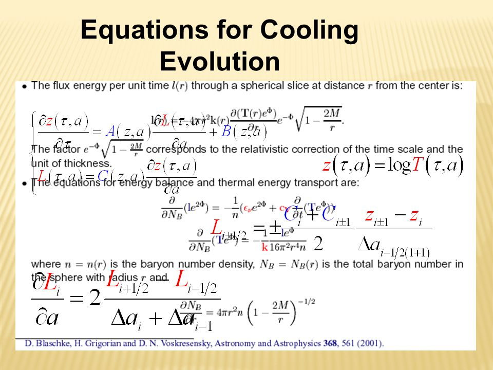 Equations for Cooling Evolution