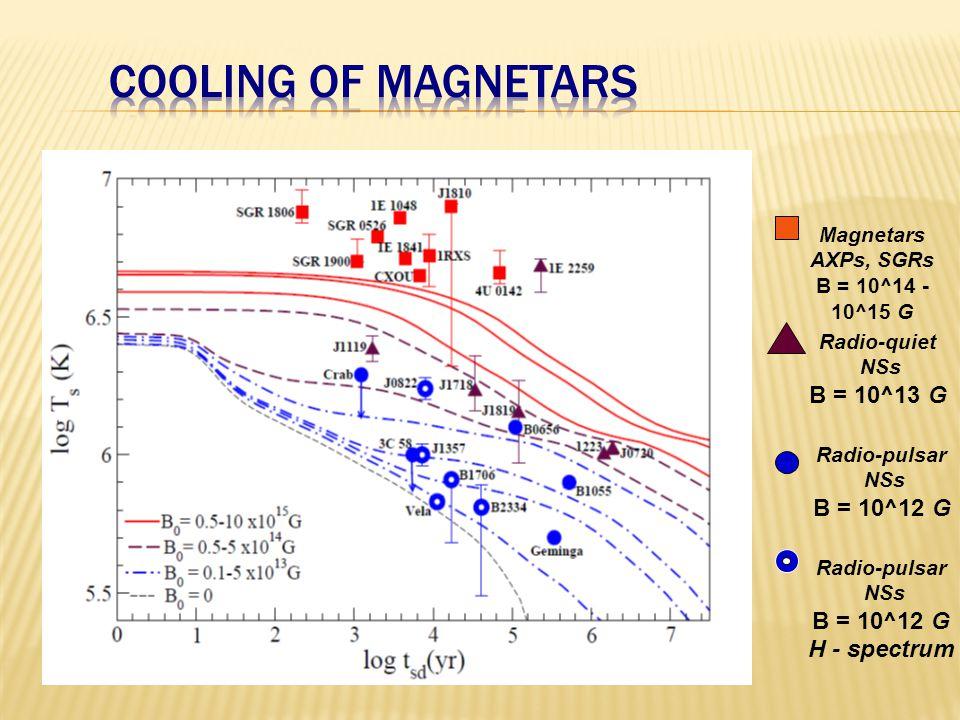 Magnetars AXPs, SGRs B = 10^14 - 10^15 G Radio-quiet NSs B = 10^13 G Radio-pulsar NSs B = 10^12 G Radio-pulsar NSs B = 10^12 G H - spectrum