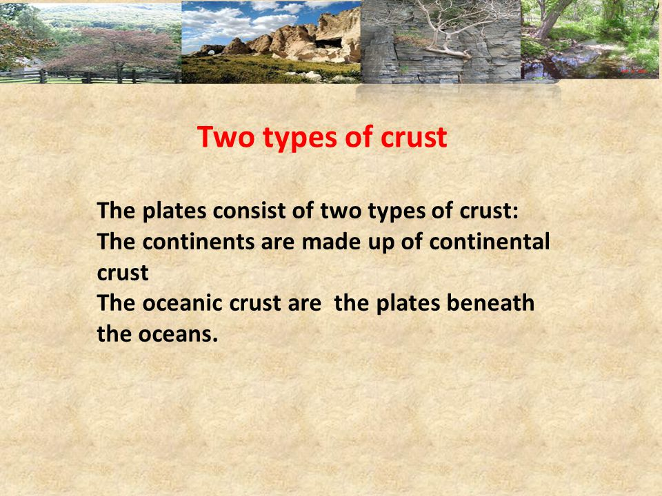 Two types of crust The plates consist of two types of crust: The continents are made up of continental crust The oceanic crust are the plates beneath the oceans.