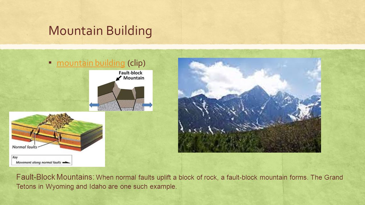 Mountain Building ▪ mountain building (clip) mountain building Fault-Block Mountains: When normal faults uplift a block of rock, a fault-block mountai