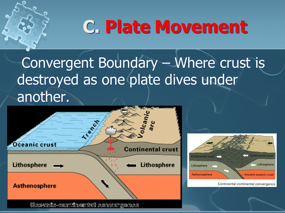 C. Plate Movement Convergent Boundary – Where crust is destroyed as one plate dives under another.