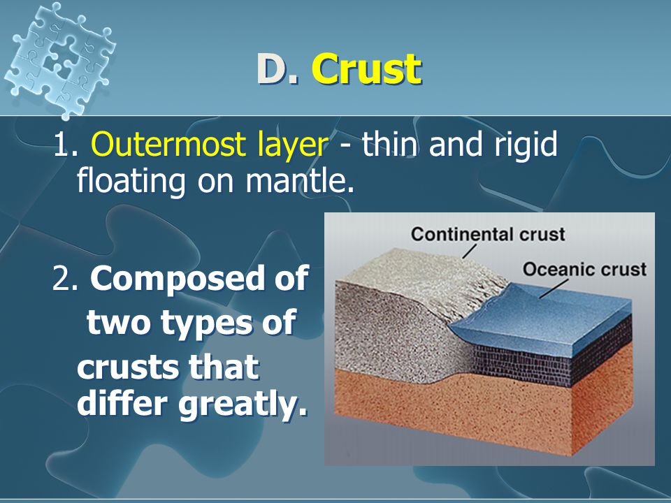 D. Crust 1. Outermost layer - thin and rigid floating on mantle. 2. Composed of two types of crusts that differ greatly. 2. Composed of two types of c