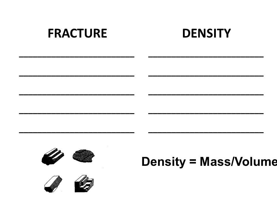 FRACTURE _________________________ DENSITY _________________________ Density = Mass/Volume