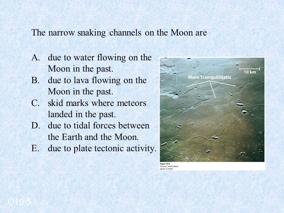 The narrow snaking channels on the Moon are A.due to water flowing on the Moon in the past. B.due to lava flowing on the Moon in the past. C.skid mark