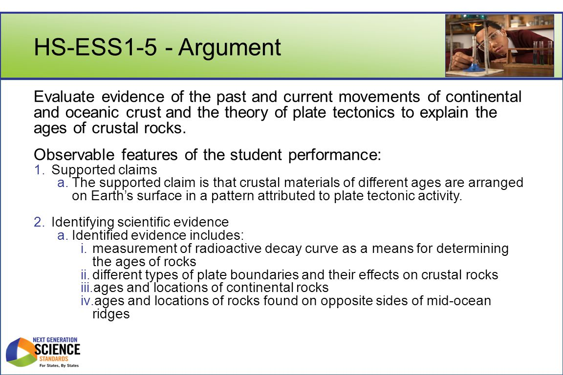 HS-ESS1-5 - Argument Evaluate evidence of the past and current movements of continental and oceanic crust and the theory of plate tectonics to explain the ages of crustal rocks.