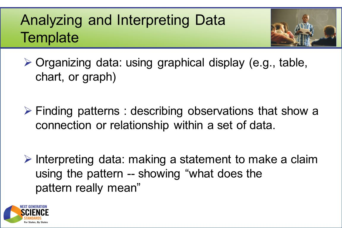 Analyzing and Interpreting Data Template  Organizing data: using graphical display (e.g., table, chart, or graph)  Finding patterns : describing observations that show a connection or relationship within a set of data.
