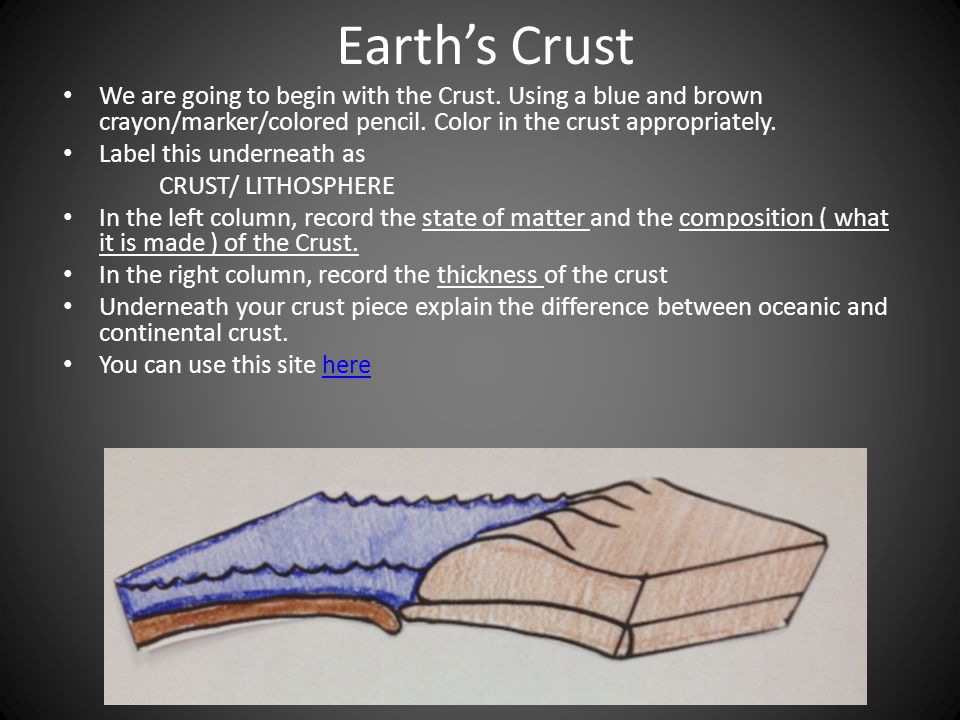 Earth's Crust We are going to begin with the Crust.