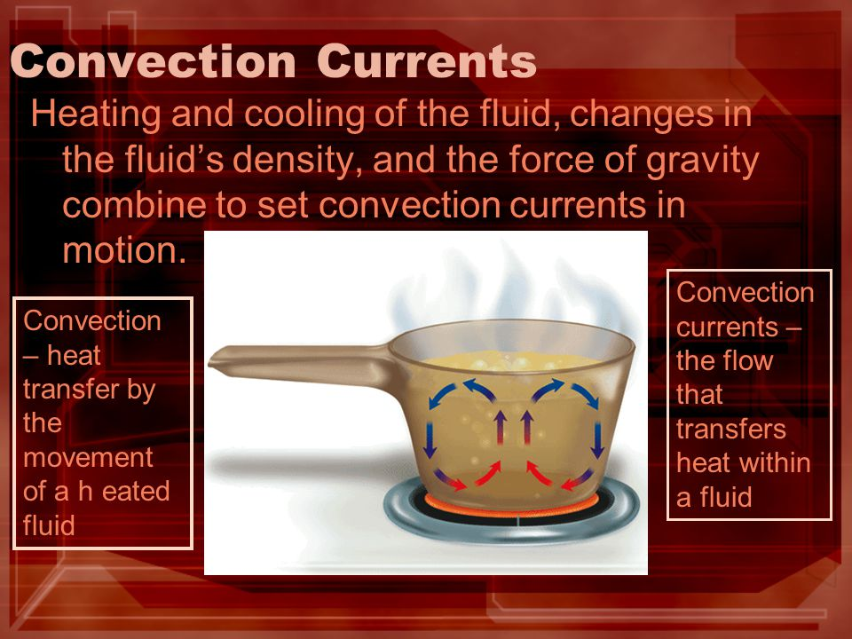 Convection Currents in Earth Heat from the core and the mantle causes convection currents in the mantle.