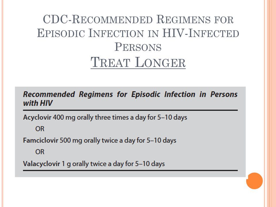 CDC-R ECOMMENDED R EGIMENS FOR E PISODIC I NFECTION IN HIV-I NFECTED P ERSONS T REAT L ONGER