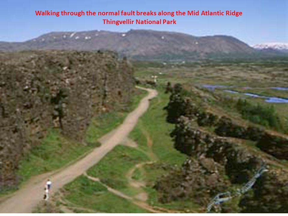 Walking through the normal fault breaks along the Mid Atlantic Ridge Thingvellir National Park
