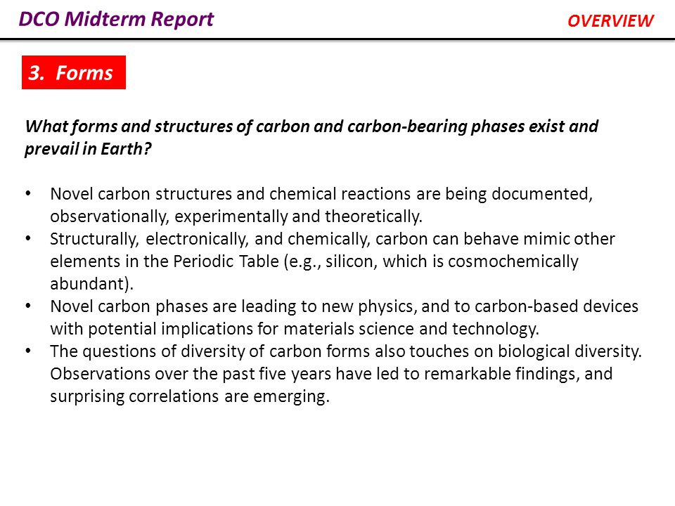 What forms and structures of carbon and carbon-bearing phases exist and prevail in Earth.