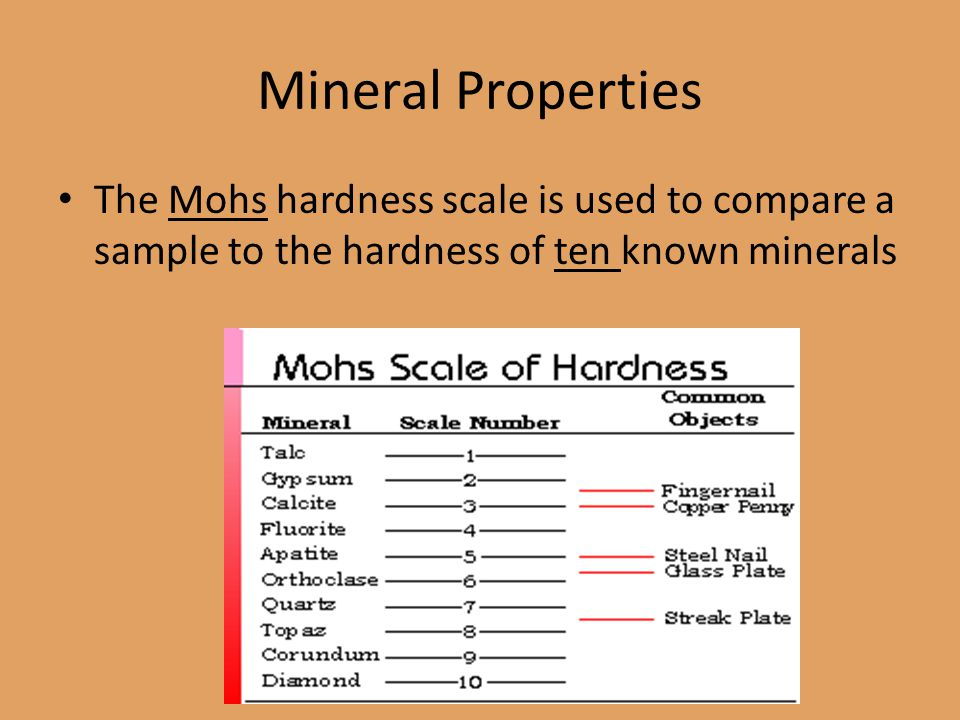 Mineral Properties The Mohs hardness scale is used to compare a sample to the hardness of ten known minerals
