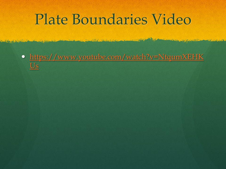 Plate Boundaries Video https://www.youtube.com/watch?v=NtqumXEHK Us https://www.youtube.com/watch?v=NtqumXEHK Us https://www.youtube.com/watch?v=Ntqum