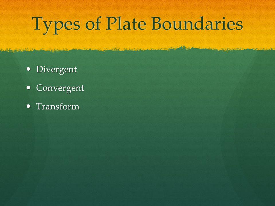 Types of Plate Boundaries Divergent Divergent Convergent Convergent Transform Transform