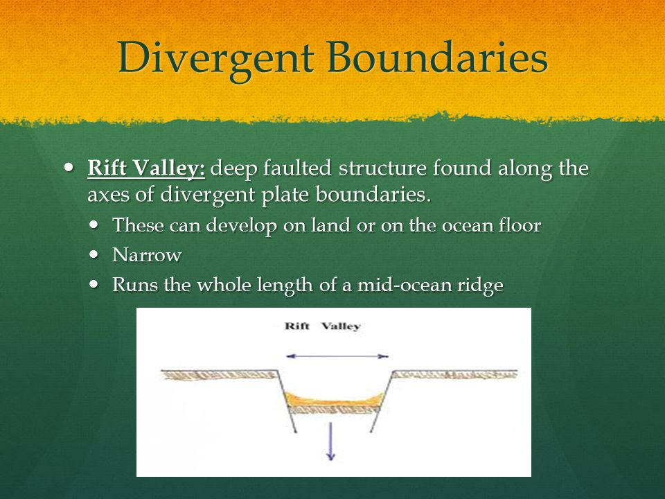 Divergent Boundaries Rift Valley: deep faulted structure found along the axes of divergent plate boundaries. Rift Valley: deep faulted structure found