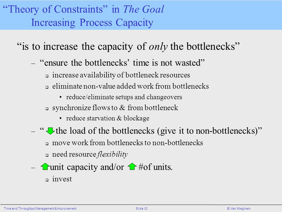 Slide 12Time and Throughput Management & Improvement© Van Mieghem is to increase the capacity of only the bottlenecks – ensure the bottlenecks' time is not wasted  increase availability of bottleneck resources  eliminate non-value added work from bottlenecks reduce/eliminate setups and changeovers  synchronize flows to & from bottleneck reduce starvation & blockage – the load of the bottlenecks (give it to non-bottlenecks)  move work from bottlenecks to non-bottlenecks  need resource flexibility – unit capacity and/or #of units.