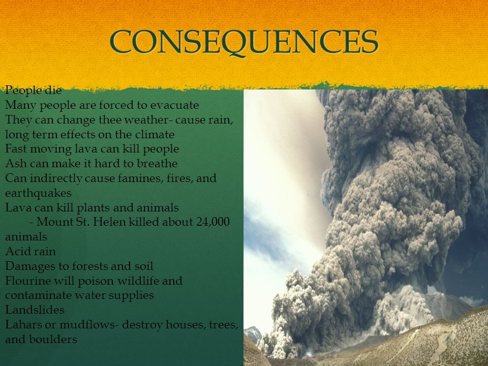 CONSEQUENCES People die Many people are forced to evacuate They can change thee weather- cause rain, long term effects on the climate Fast moving lava can kill people Ash can make it hard to breathe Can indirectly cause famines, fires, and earthquakes Lava can kill plants and animals - Mount St.