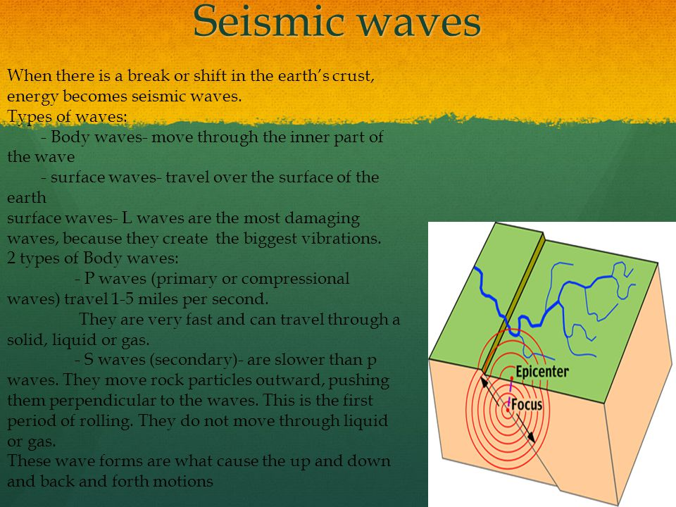 Seismic waves When there is a break or shift in the earth's crust, energy becomes seismic waves.
