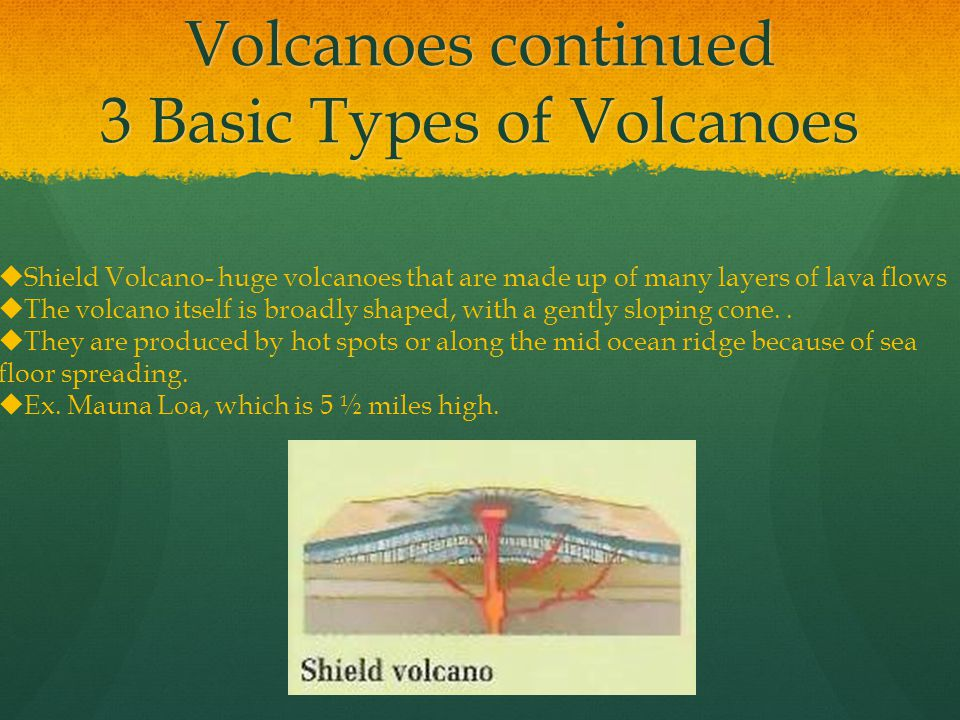 Volcanoes continued 3 Basic Types of Volcanoes  Shield Volcano- huge volcanoes that are made up of many layers of lava flows  The volcano itself is broadly shaped, with a gently sloping cone..