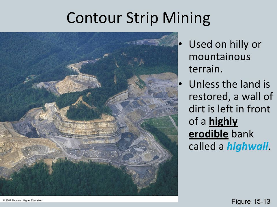 Contour Strip Mining Used on hilly or mountainous terrain. Unless the land is restored, a wall of dirt is left in front of a highly erodible bank call