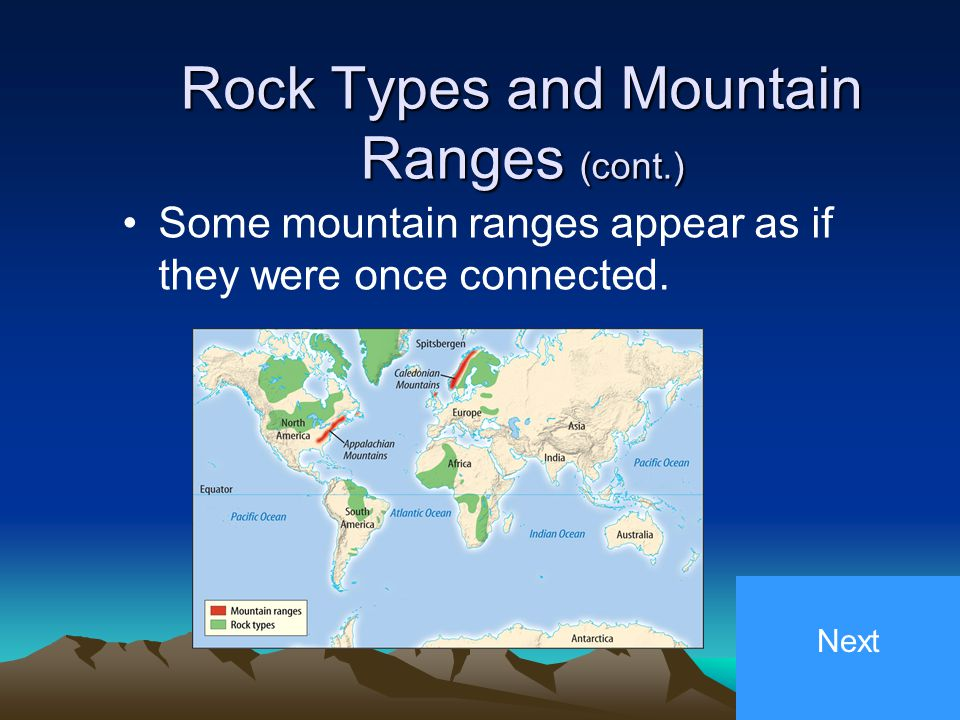3. Rock Types and Mountain Ranges Ancient rocks on the continents match up when you assemble the continents as Pangaea. Next