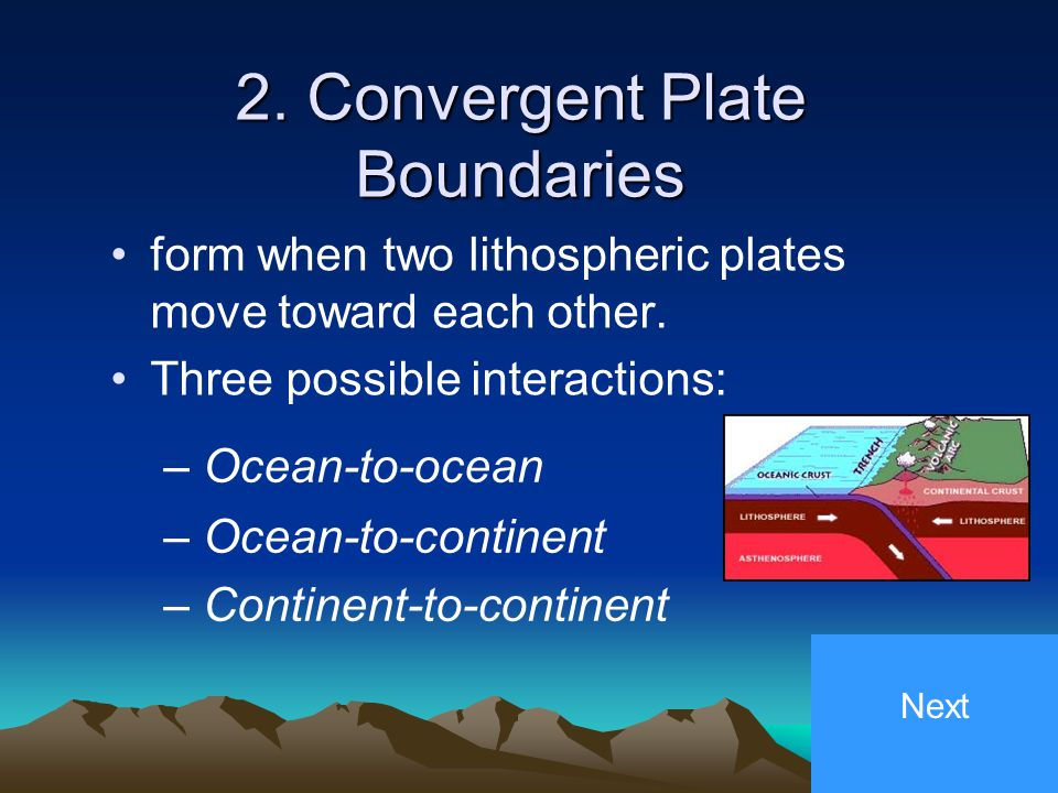1. Divergent Plate Boundaries occurs when two lithospheric plates move apart. Mid-ocean ridges occur along divergent plate boundaries. Next